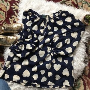 J. Crew Size S Navy and White Heart print shirt